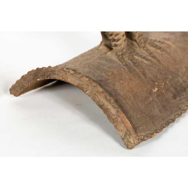 1970s 1970s Vintage Italian Terracotta Corner Roof Tiles- A Pair For Sale - Image 5 of 6