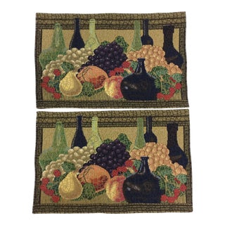 Dense Tapestry Placemats - A Pair For Sale