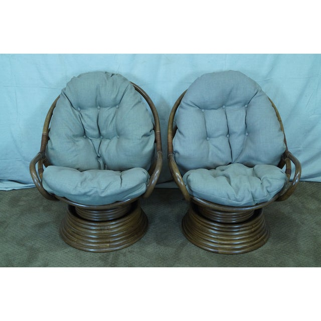 Quality Rattan Swivel Rocking Lounge Chairs - Pair - Image 2 of 10