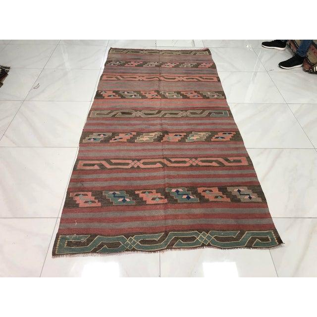 Turkish Tribal Handmade Kilim Rug - 4′ × 8′1″ For Sale - Image 11 of 11