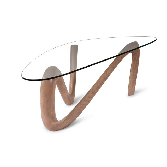 Not Yet Made - Made To Order Amorph Iris Gray Oak Stained Coffee Table With Glass Top For Sale - Image 5 of 13