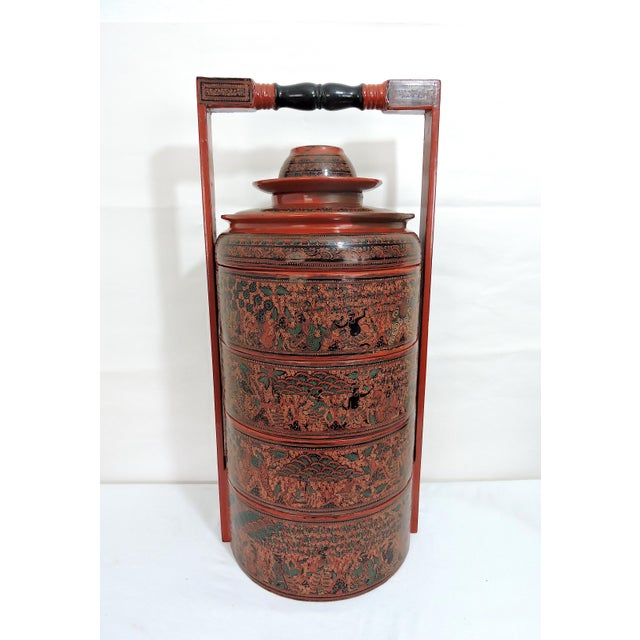 20th Century Burmese Red Lacquer Asian Wedding Food Box / Storage Chest For Sale - Image 4 of 13