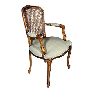 Louis XV French Style Upholstered Bergere Chair For Sale
