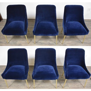 Blue Velvet and Brass Dining Chairs - Set of 6 Preview