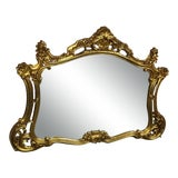 Image of Antique Italian Rococo Giltwood Carved Wood Wall Mirror For Sale