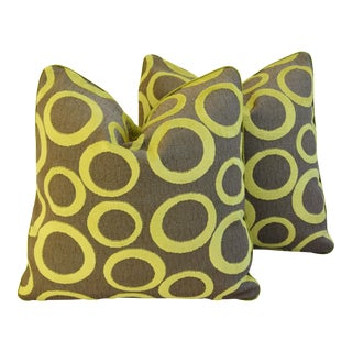"Designer Lime Green Opuzen Cut Velvet Pillows 21"" Square - Pair For Sale"