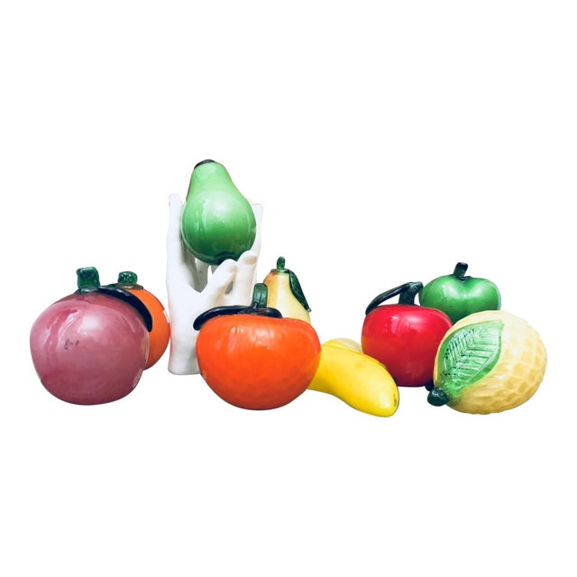 Murano Glass Fruit & Porcelain Hands Figurines - Set of 10 For Sale
