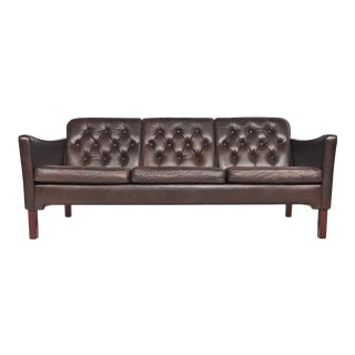 Danish Modern Brown Leather Button Tufted Sofa For Sale