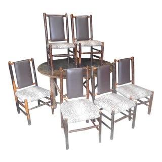 Awesome Designer Log Wood 7 Piece Dining Set For Sale