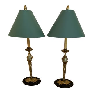 Pair of Elegant and Whimsical Brass Frog Motife Tall Table Lamps by Chapman For Sale