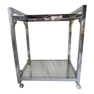 Vintage Modernist Chrome Bar Cart For Sale