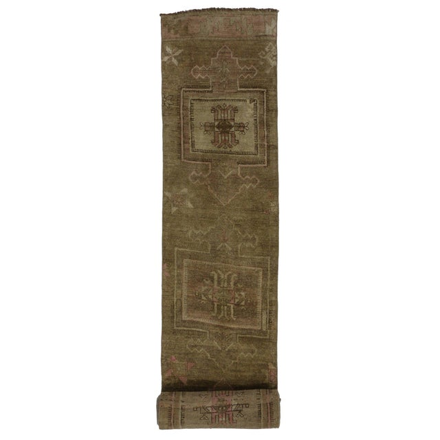 88ba8f2c6 Textile Vintage Turkish Oushak 22 Ft Runner with Modern Contemporary Style,  Painted Oushak Rug For