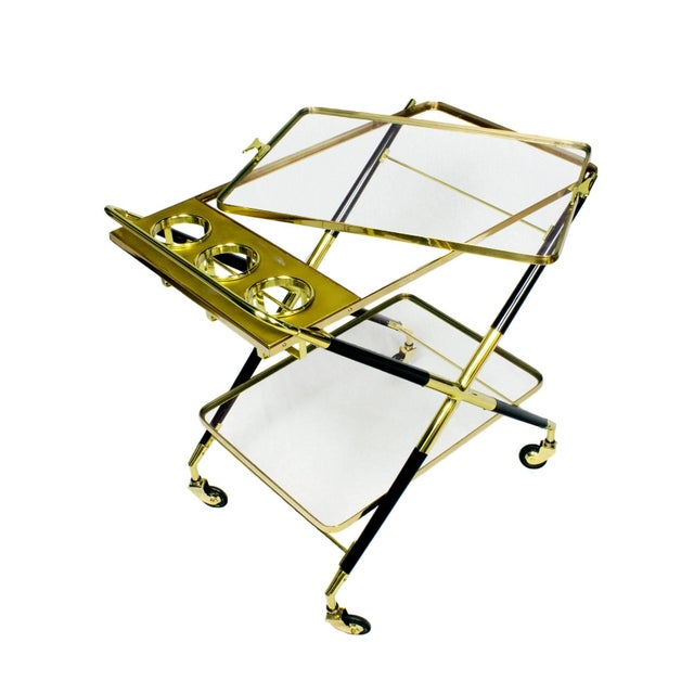 Black 1950s Bar Cart with Tray by Cesare Lacca, Beech, Brass and Glass, Italy For Sale - Image 8 of 11