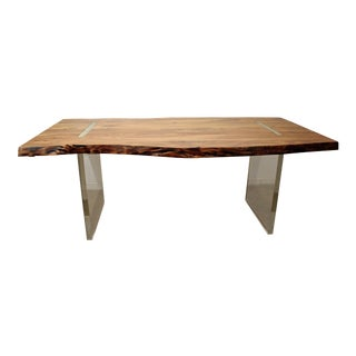 Modern Designer Studio Floating Top Acacia Wood & Lucite Ghost Base Dining Table