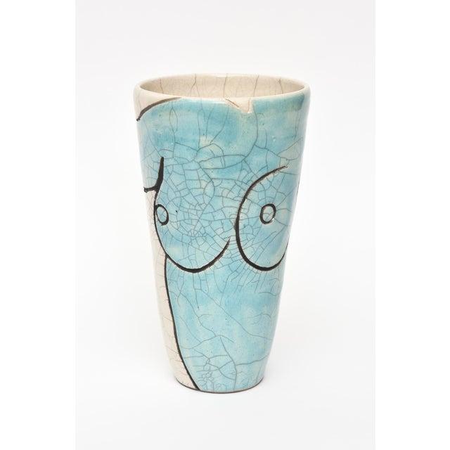 Vintage Raku Ceramic Nude Vase, Signed For Sale - Image 11 of 11