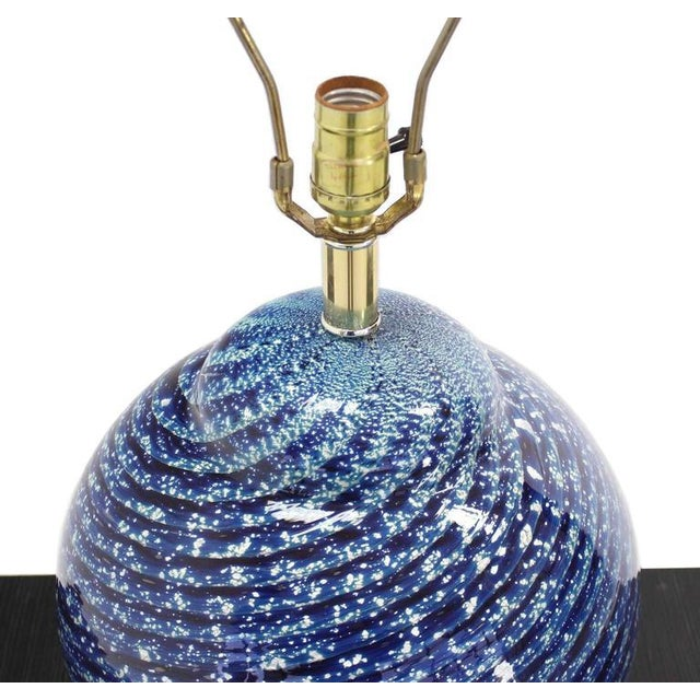 Early 20th Century Large Blue Art Glass Globe Table Lamp For Sale - Image 5 of 6