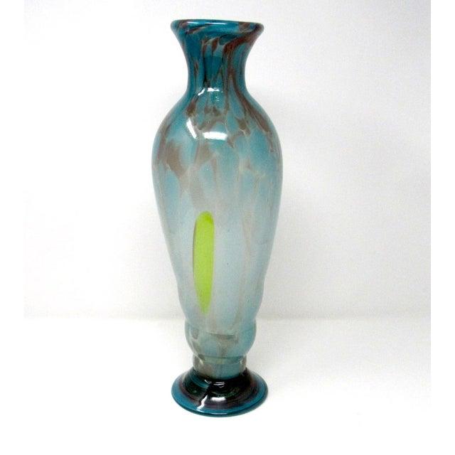 Mid-Century Modern Vintage Hand-Blown Studio Art Glass Vase For Sale - Image 3 of 9