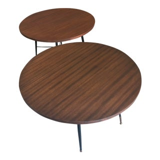 Pair of Italian Mid-Century Modern Circular Side Tables For Sale