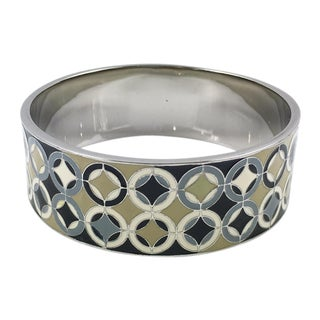 Celine Paris Modernist Enamel and Silvered Metal Bangle Bracelet For Sale