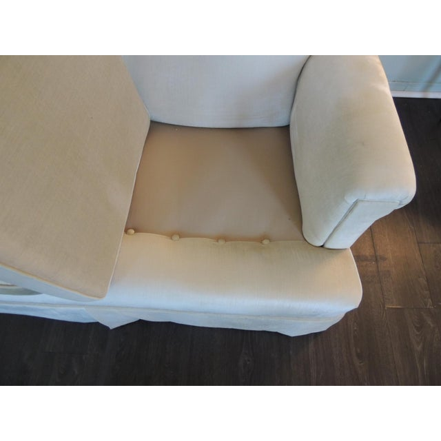 Gray Vintage Long Three Cushion Velvet Upholstered Sofa For Sale - Image 8 of 11