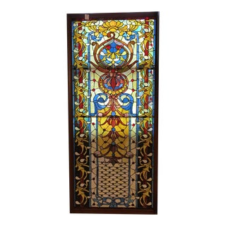 Art Nouveau Stained Glass Mixed Media Door Size Window For Sale