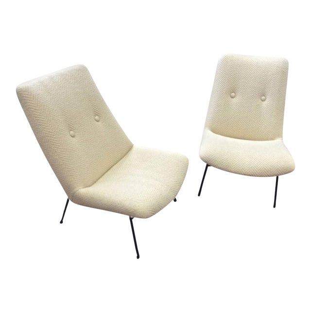 Pierre Guariche Pair of Armchairs Model Sk660 Newly Covered in Chevron Alpaca For Sale