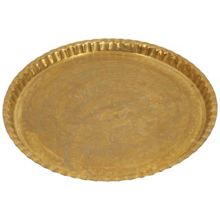 Large Syrian Hand-Hammered Brass Tray For Sale