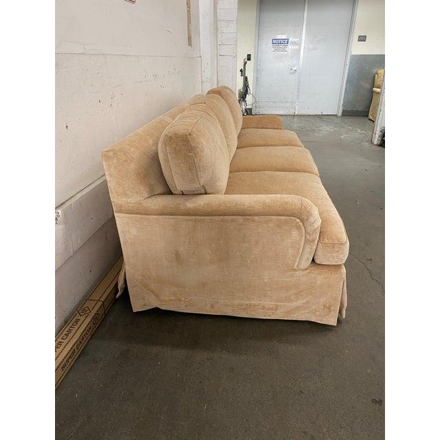 Belmar Custom Upholstery Rolled Arm Cream Velvet Sofa For Sale - Image 4 of 13