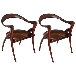 Pair of Studio Craft African Mahogany Armchairs For Sale