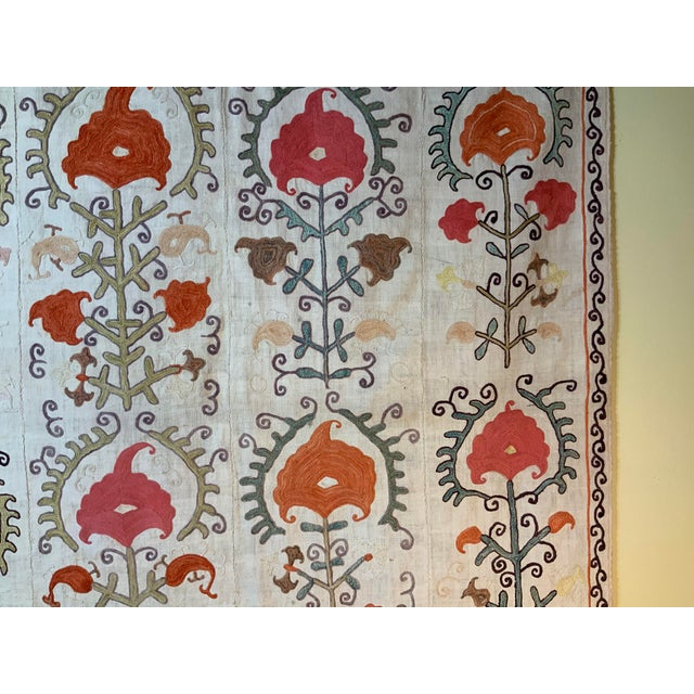 Antique Suzani Panel Wall Hanging For Sale - Image 4 of 13