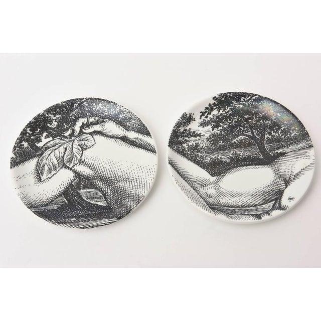 1960s Mid-century Piero Fornasetti Porcelain Coasters Adam or Bareware - Set of 8 For Sale - Image 5 of 10