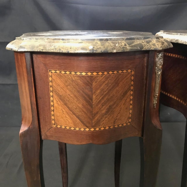 French Vintage Mahogany & Satinwood Inlay Night Stands With Marble Tops -A Pair For Sale In Portland, ME - Image 6 of 12