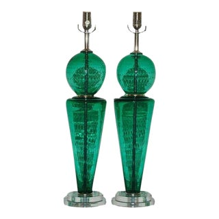 Vintage Murano Glass Table Lamps Green