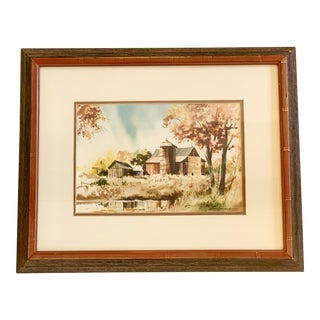 Traditional Vintage Barn Watercolor Painting by Keith Hoffman For Sale