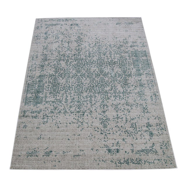 "Vintage Faded Persian Teal Distressed Rug - 5'3"" X 7'7"" For Sale"