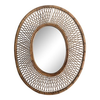 French C. 1960 Woven Rattan Oval Wall Mirror For Sale