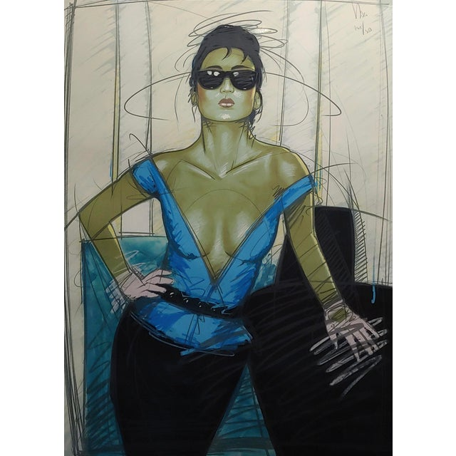 Abstract Dennis Mukai - Model W/Black Sunglasses- Original 1980s Serigraph -Signed For Sale - Image 3 of 9