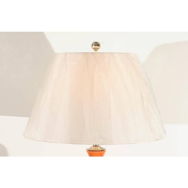 Ceramic Vibrant Pair of Modern Tangerine Ceramic Lamps For Sale - Image 7 of 11