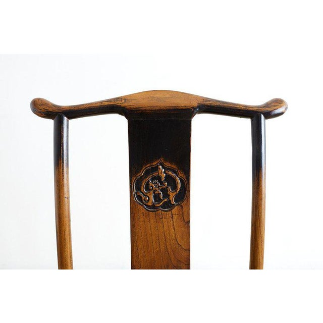 Mid 20th Century Chinese Dragon Carved Yoke Back Official's Hat Chairs For Sale - Image 5 of 13