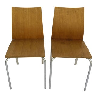 Vintage Focus Blonde Pine Chairs - A Pair