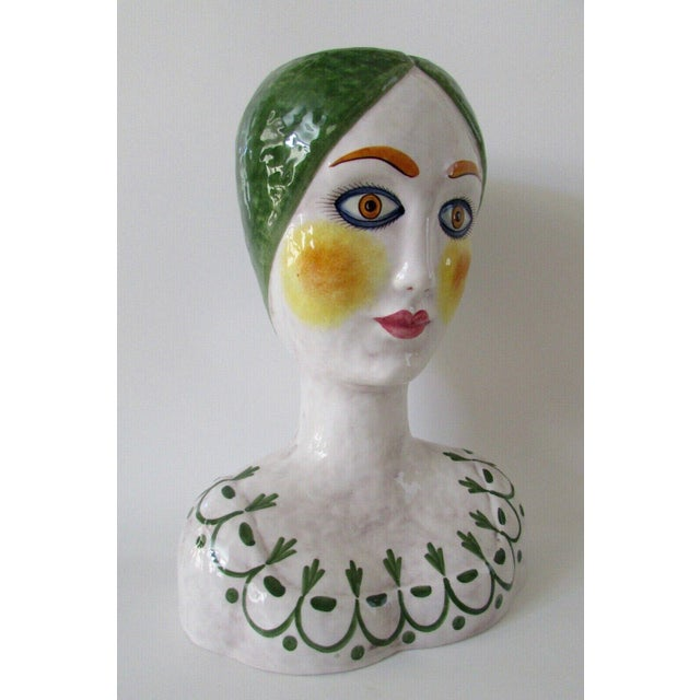 1960s Horchow Italian Head Vase Planter For Sale - Image 5 of 9