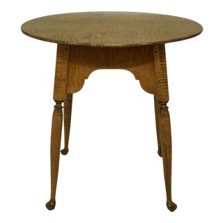 Wilcox BenchMade Tiger Maple Oval Occasional Table For Sale