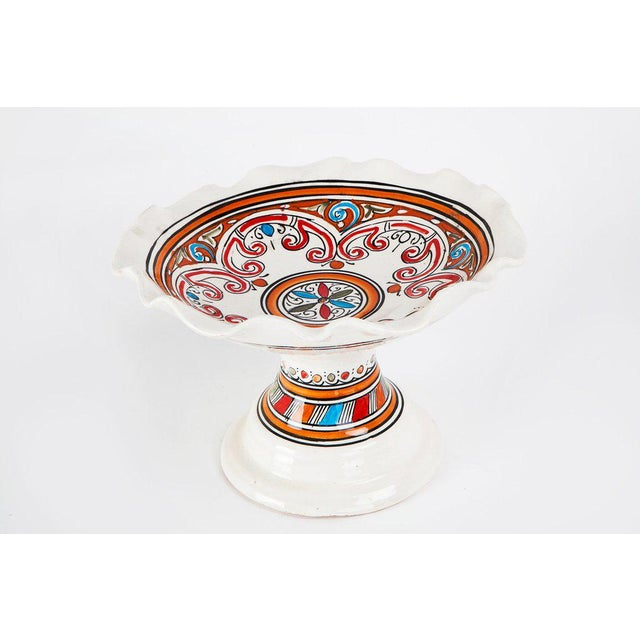 Moroccan Handpainted Ceramic Coupe Plate - Image 2 of 3