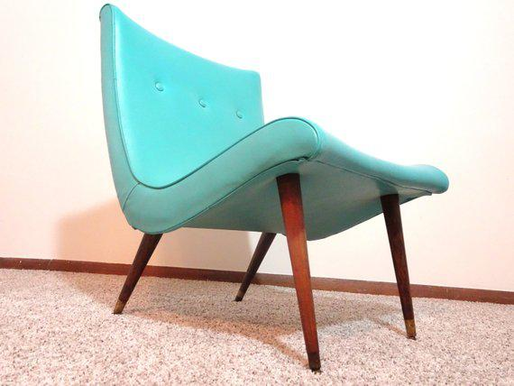 1950s 1950s Mid Century Modern Turquoise Scoop Chair And Ottoman   2 Pieces  For Sale