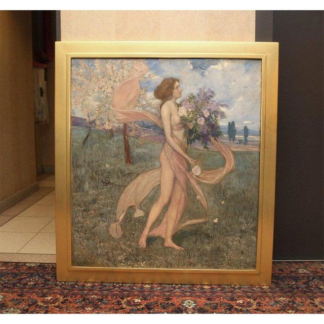 "Blue Art Nouveau Painting by Alexander Goltz, ""Fruhling"" For Sale - Image 8 of 8"