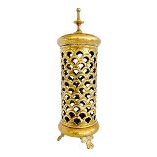 Moroccan Moucharabieh Brass Candlestick / Candle Holder Lantern