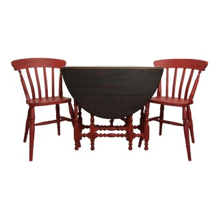 Vintage Drop Leaf and Gate Leg Table & 2 Chairs - Set of 3