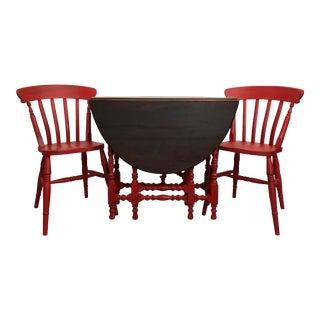 Vintage Drop Leaf Table & 2 Chairs - Set of 3