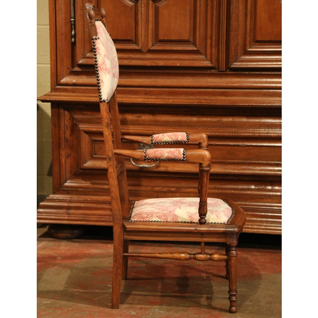Brown 19th Century French Louis XVI Carved Walnut Chauffeuse Chair With Vintage Fabric For Sale - Image 8 of 10