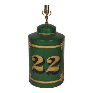 Vintage Exported English Hand-Painted Number 22 Tea Caddy Table Lamp For Sale